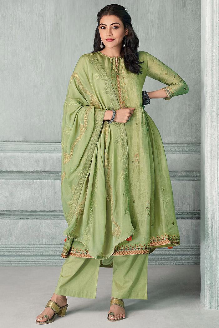 Ready To Wear Pista Green Zari Embroidered Silk Kurta Set