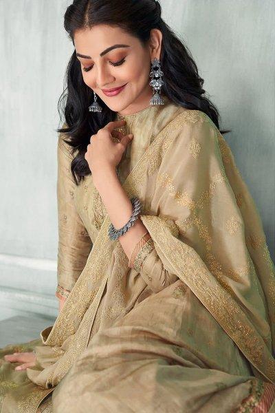 Ready To Wear Beige Zari Embroidered Silk Kurta Set