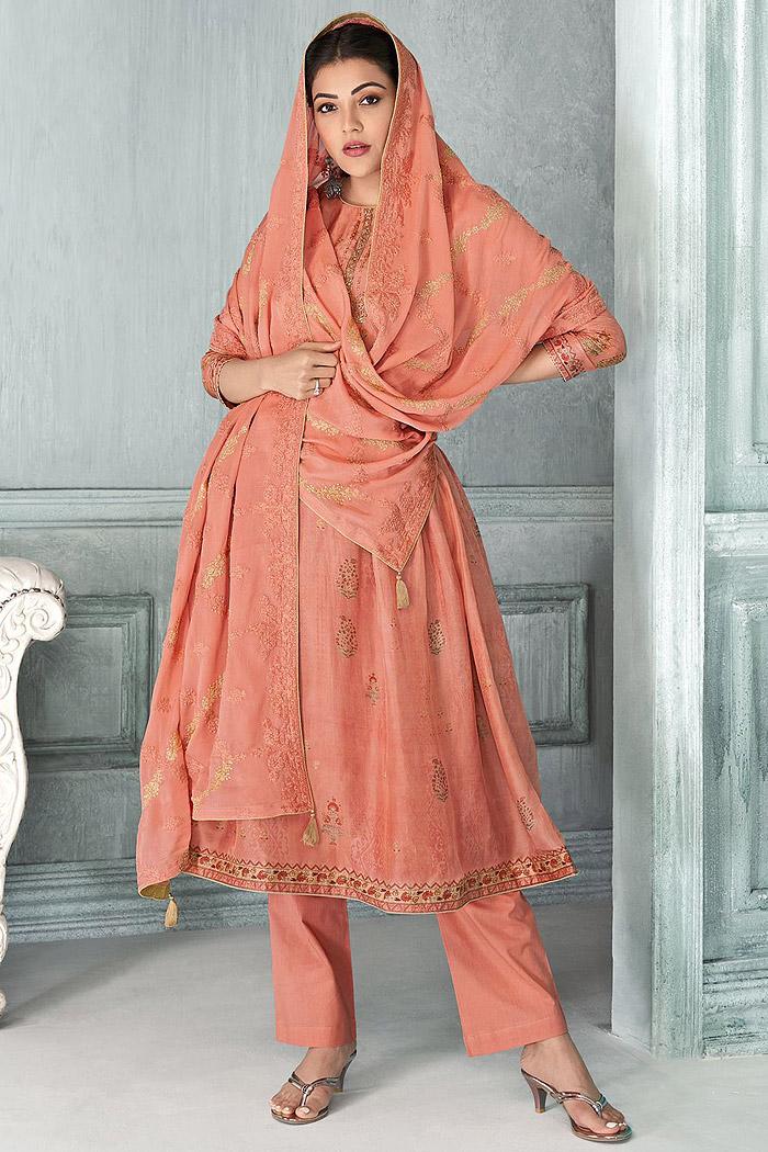Ready To Wear Orange Zari Embroidered Silk Kurta Set