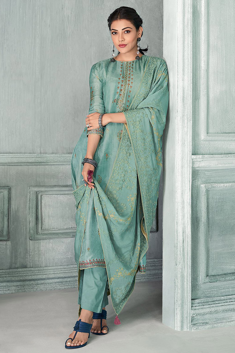 Ready To Wear Pastel Blue Zari Embroidered Silk Kurta Set