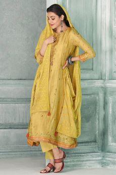 Ready To Wear Yellow Zari Embroidered Silk Kurta Set