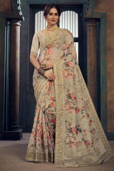 Beige Floral Printed Organza Silk Saree