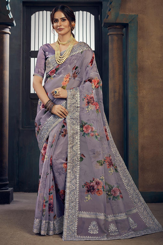 Lilac Floral Printed Organza Silk Saree