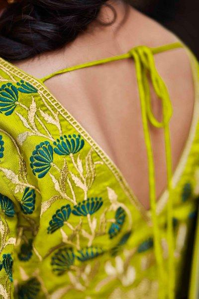 Dark Teal Blue Silk Embroidered Saree