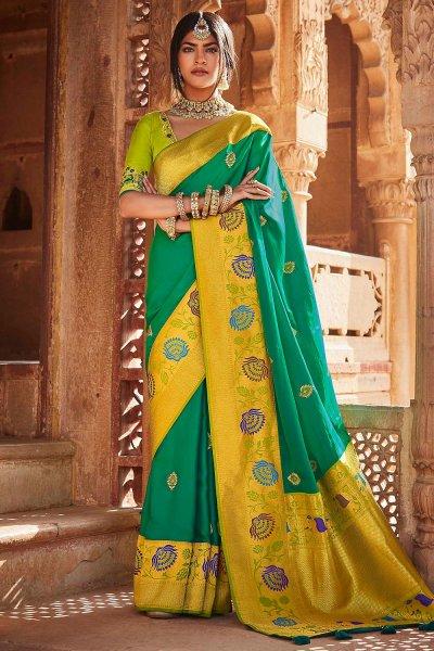 Teal Green Silk Embroidered Saree