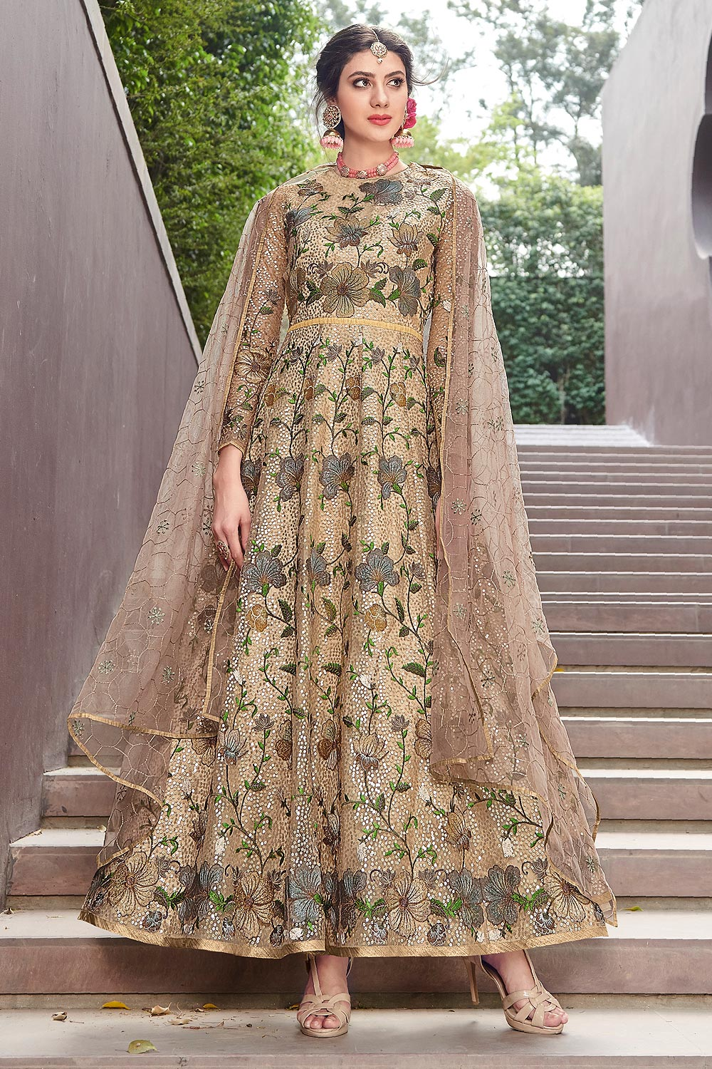 Dull Gold Net  Anarkali Style Gown With Dupatta