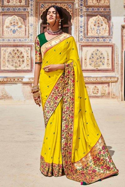 Yellow Silk Embroidered Saree