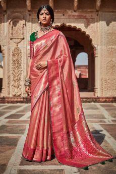 Blush Pink Silk Embroidered Saree