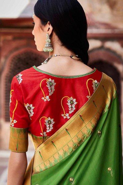 Mehendi Green Silk Embroidered Saree