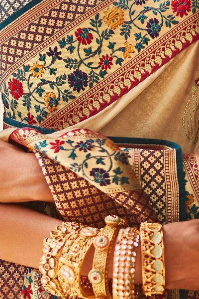 Light Beige Silk Embroidered Saree