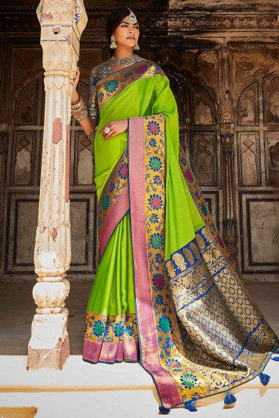 Lime Green Silk Embroidered Saree