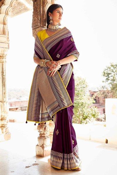 Plum Silk Embroidered Saree