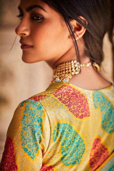Light Blue Silk Embroidered Saree