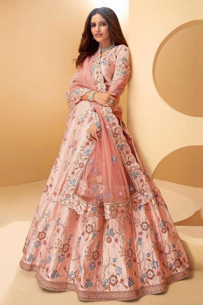Light Pink Silk Embroidered Lehenga