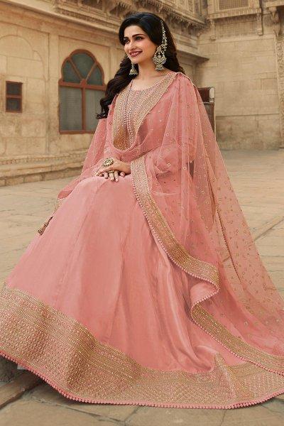 Peach Zari Embroidered Anarkali Suit in Silk