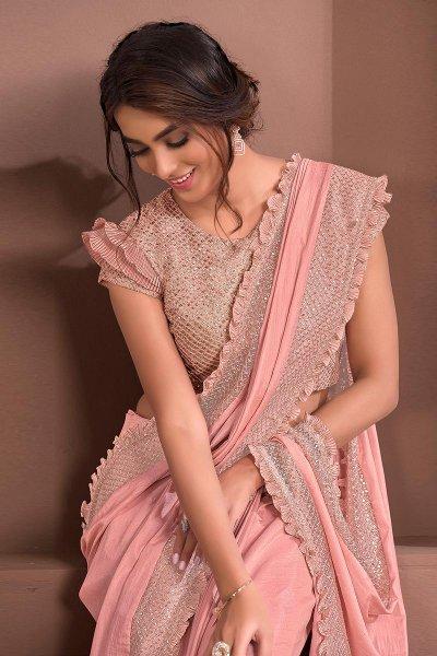 Peach Designer Embellished Silk Georgette Saree