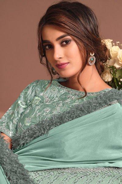 Pastel Blue Designer Embellished Silk Georgette Saree