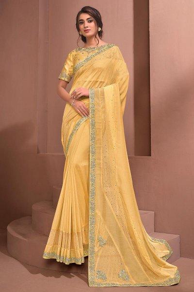 Yellow Designer Embellished Silk Georgette & Net Saree