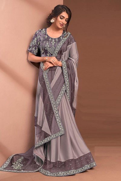 Light Plum Designer Embellished Silk Georgette Saree