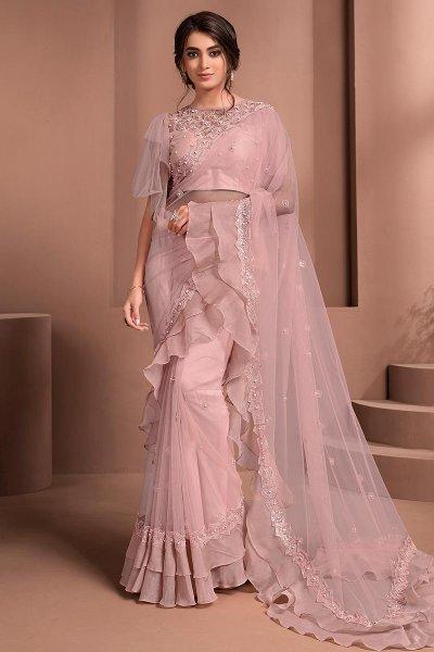 Soft Pink Designer Embellished Net Saree