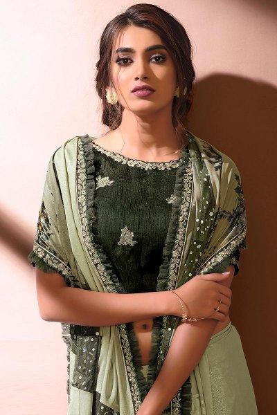 Moss Green Designer Embellished Silk Georgette Saree