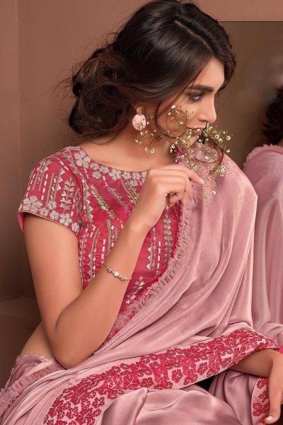 Blush Pink Designer Embellished Satin Georgette Saree