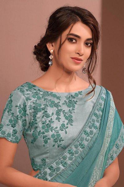 Pastel Blue Designer Embellished Silk Chiffon Saree