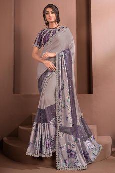 Lilac Designer Embellished Silk Georgette Saree