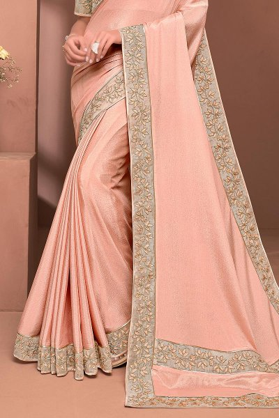 Peach Designer Embellished Silk Chiffon Saree