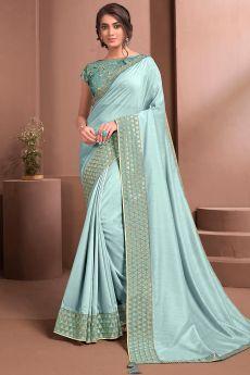 Light Blue Designer Embellished Satin Silk Saree