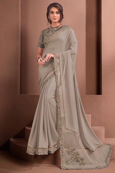 Grey Designer Embellished Silk Georgette Saree