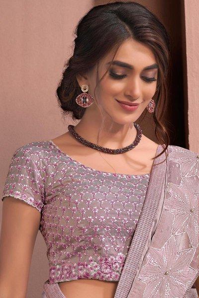 Lavender Designer Embellished silk Georgette Saree