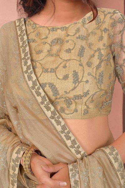 Beige Designer Embellished Tissue Saree