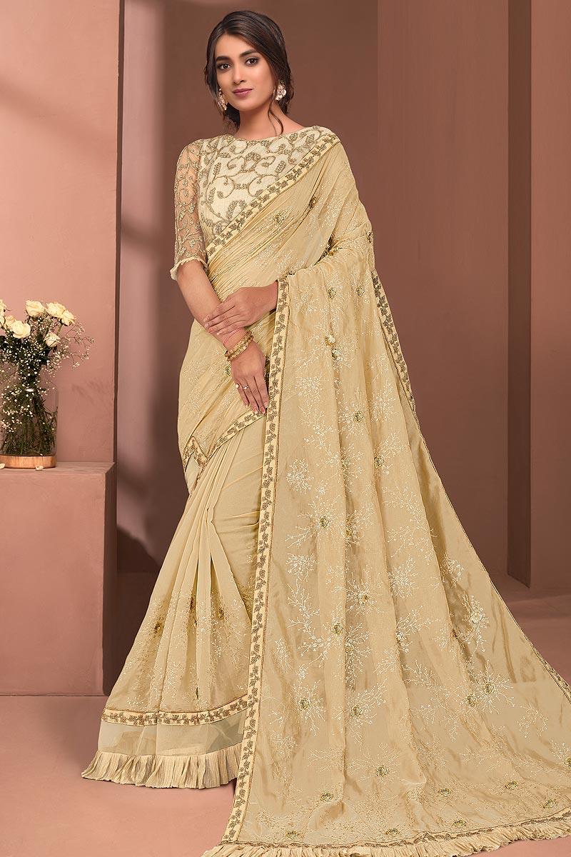 Pale Yellow Designer Embellished Tissue Saree