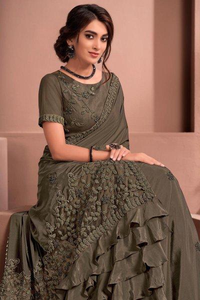 Grey Designer Embellished Crepe Silk Saree