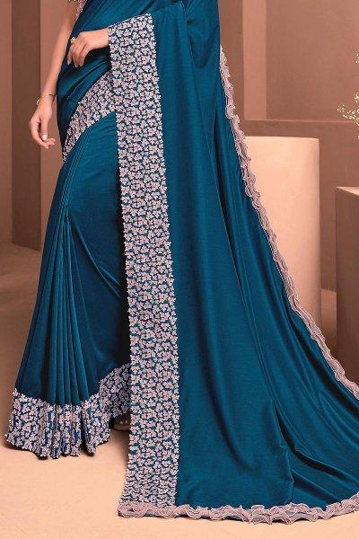 Royal Blue Designer Embellished Silk Georgette Saree