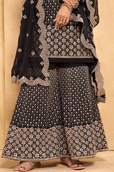 Black Embroidered Georgette Sharara Set