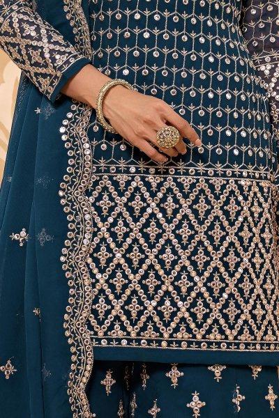 Blue Embroidered Georgette Sharara Set