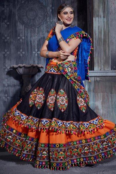Black & Orange Embellished Cotton Lehenga Set For Navratri