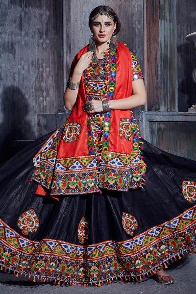 Black Embellished Cotton Lehenga Set For Navratri
