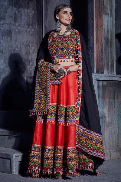 Red Embellished Cotton Lehenga Set For Navratri