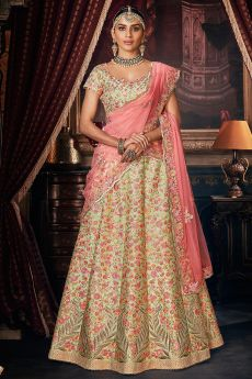 Pista Green Silk Crafted Floral Embellished Lehenga