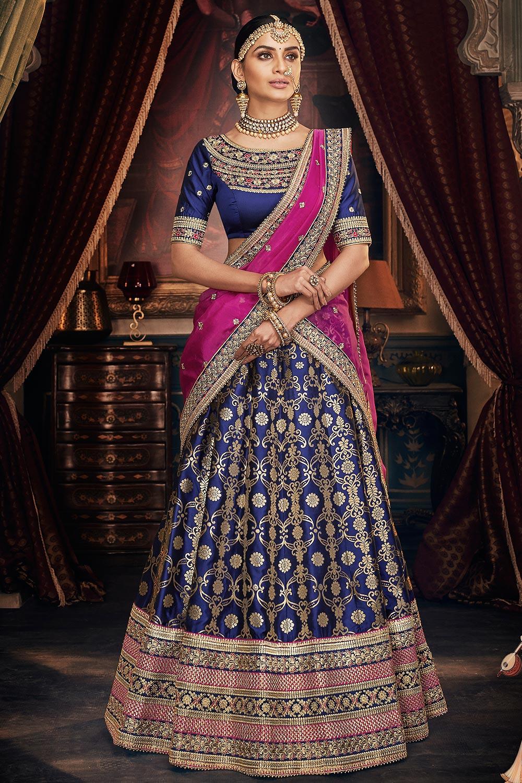 Navy Blue Jacquard Silk Crafted  Embellished Lehenga