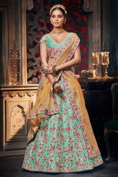 Aqua Blue Jacquard Silk Crafted  Embellished Lehenga