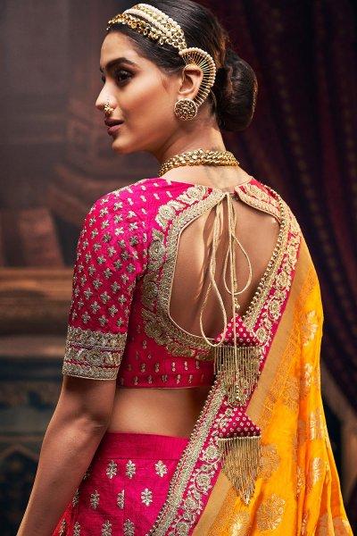 Magenta Silk Crafted  Embellished Lehenga