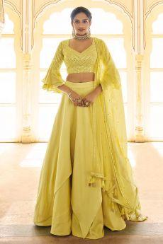 Yellow Designer Silk Crafted Lehenga