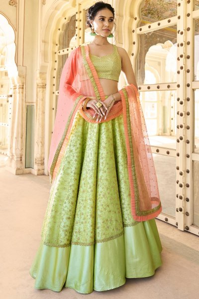Pista Green Designer Silk Crafted Lehenga