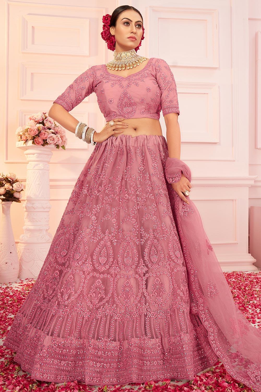 Blush Pink Stone Work Net Lehenga
