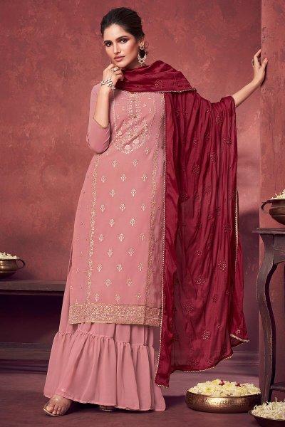 Blush Pink Georgette Embroidered Kurta Gharara Set