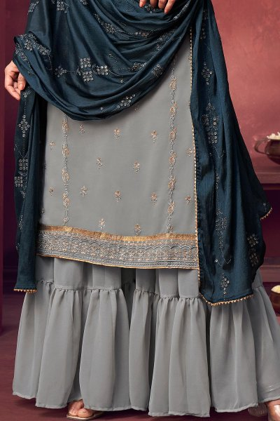 Grey Georgette Embroidered Kurta Gharara Set